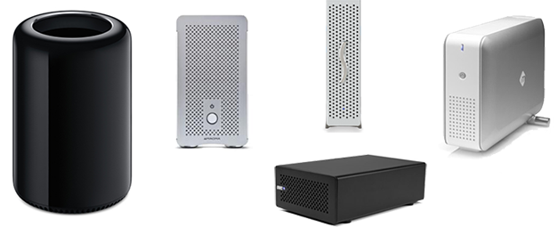 The new Mac Pro 2013 with four PCIe expansion chassis'