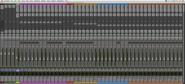 Pro Tools Mix window with all tracks of the test Session.