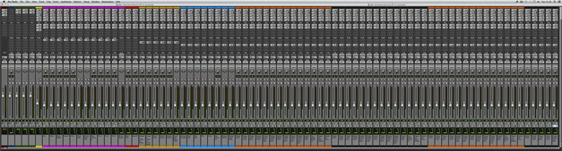 Pro Tools Mix Window of the extended session with 81 tracks.