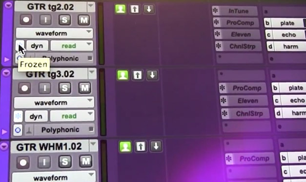 New Freeze Track Function in a new version of Pro Tools 11