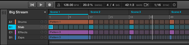 The new Arranger View in Native Instruments' Maschine 2.0 with better pattern lay-out
