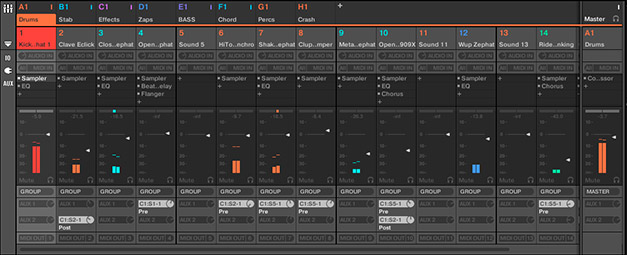 Maschine 2.0 Mixer view with faders, IO Section, plugin insert slots and AUX sends.